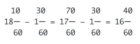 時間の引き算も分数にした方が分かりやすい