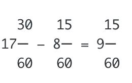 経過時間の計算は分数にしても簡単