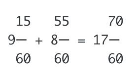 時間の足し算は分数にした方が分かりやすい